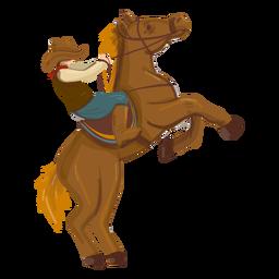 Cowboy riding rearing horse