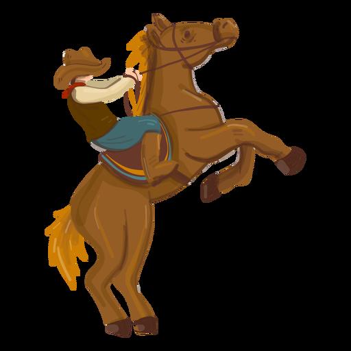 Cowboy riding rearing horse Transparent PNG