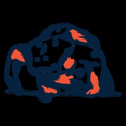 Vista frontal de cocodrilo duotono