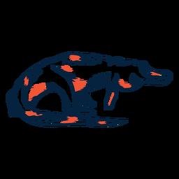 Crocodilo andando duotônico