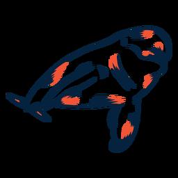 Delfín nadando duotono