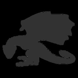 Dragón animal ala cola cuello silueta