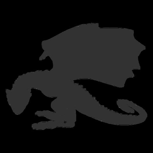 Silhueta de pescoço de cauda de asa de dragão animal Transparent PNG
