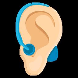 Sordera del oído lóbulo de la oreja sordera audífono ilustración