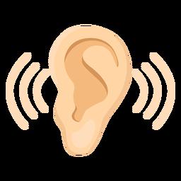 Ilustração do som do lóbulo da orelha