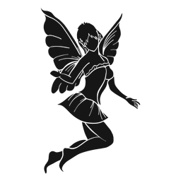 Fairy jumping silhouette