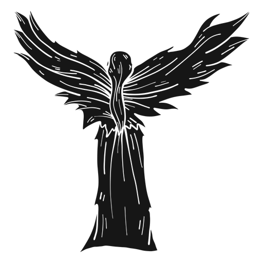 Female angel rear view dark Transparent PNG