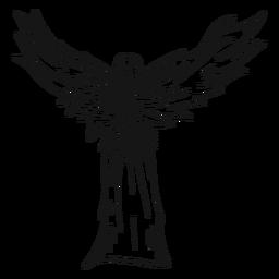 Linha de visão traseira de anjo feminino