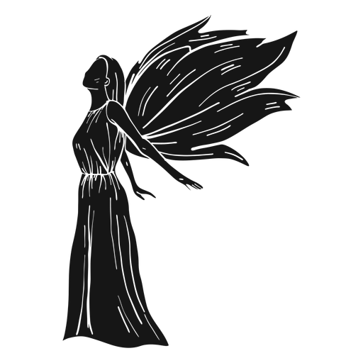 Female angel side view dark Transparent PNG