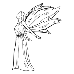 Línea de vista lateral de ángel hembra