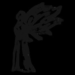 Linha de vista lateral de anjo feminino