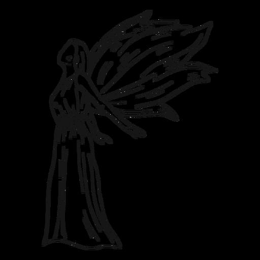 Linha de vista lateral de anjo feminino Transparent PNG