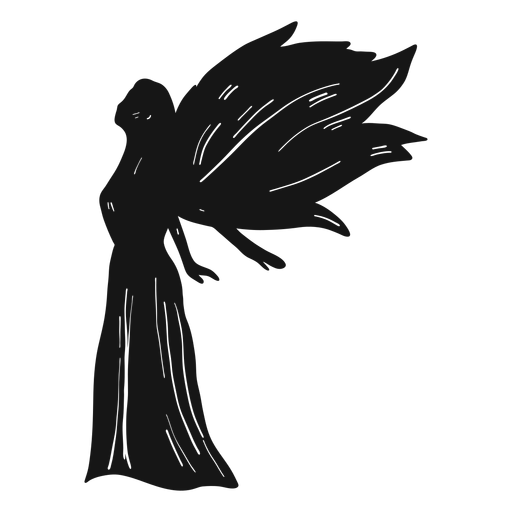 Female angel side view silhouette Transparent PNG