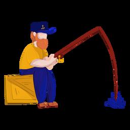 Cuadro pescador caja pesca ilustración