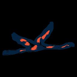 Flamingo voando duotônico