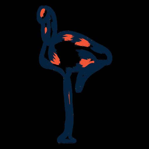 Flamingo standing duotone Transparent PNG