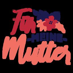 Etiqueta engomada alemana del texto de la flor del murmullo del meine de la piel