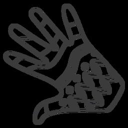 Curso de padrão de palma de dedo de mão de luva
