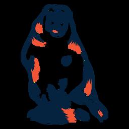 Marmota vista frontal duotono