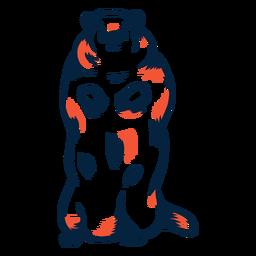 Marmota de pie duotono
