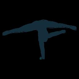 Ejercicio de acrobacias de flexibilidad de gimnasta divide silueta