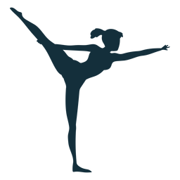 Silhueta de acrobacias de exercício de flexibilidade de ginasta