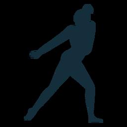 Silueta de ejercicio de acrobacias de rendimiento de flexibilidad de gimnasta
