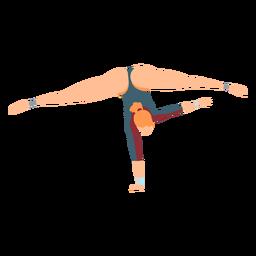 Ginasta collant corporal meia exercício acrobacias flexibilidade divide plana