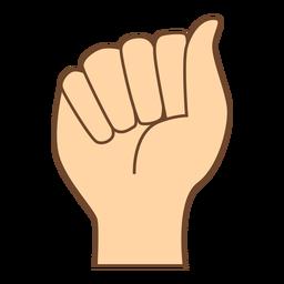 Hand finger a letter a flat