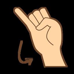 Mão dedo seta j letra j plana