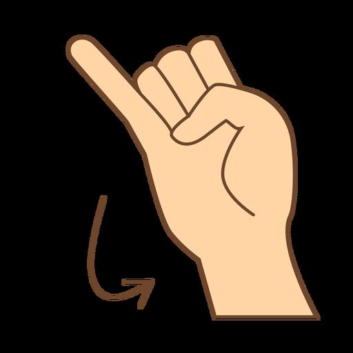 Hand finger arrow j letter j flat Transparent PNG