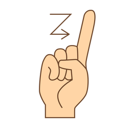 Hand finger arrow z letter z flat