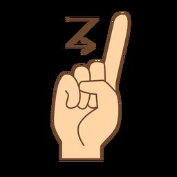 Mão dedo seta z letra z plana