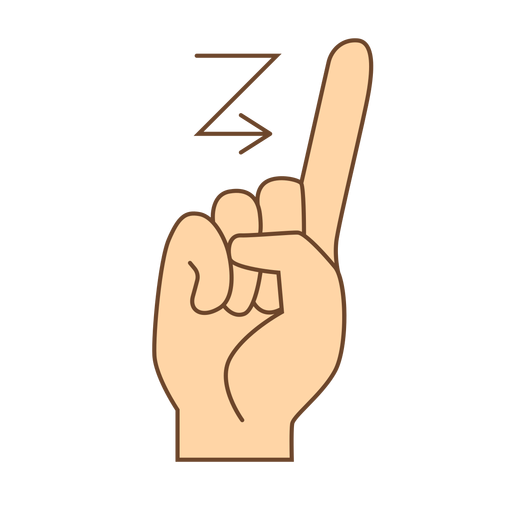 Hand finger arrow z letter z flat Transparent PNG