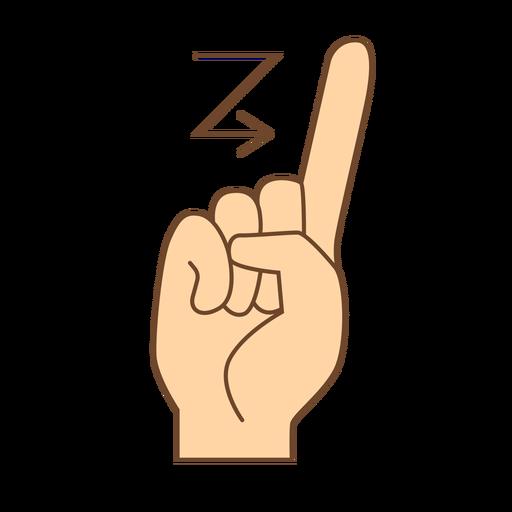 Mão dedo seta z letra z plana Transparent PNG
