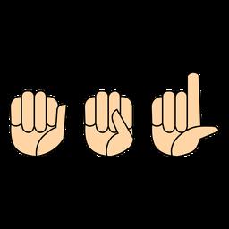 Dedo da mão asl plana