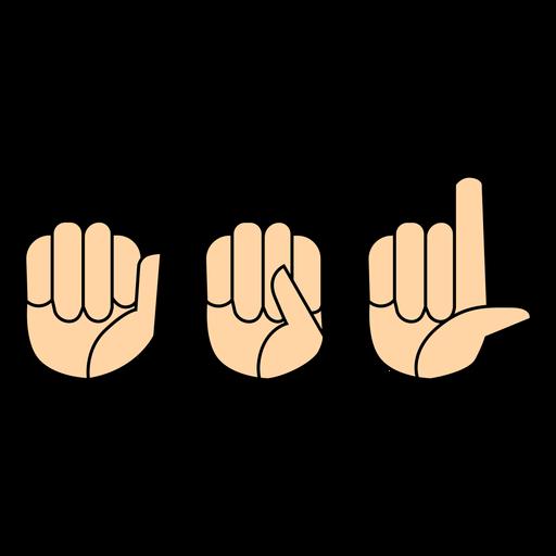 Hand finger asl flat Transparent PNG