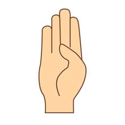 Handfinger b Buchstabe b flach