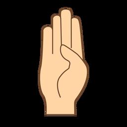 Mão dedo b letra b plana