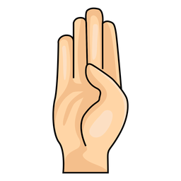 Mano dedo b letra b ilustración
