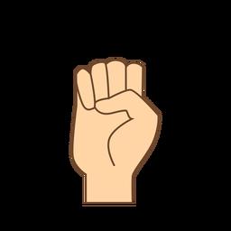 Mão dedo e letra e plana
