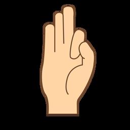 Hand finger f letter f flat