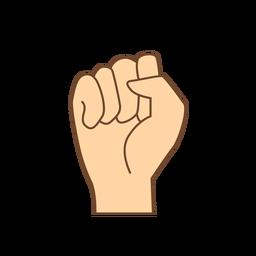 Mano dedo puño s letra s plana