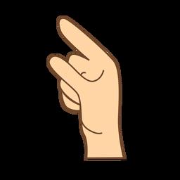 Mão dedo g letra g plana