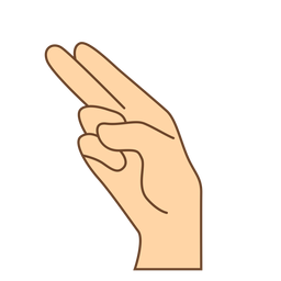 Mano dedo h letra h plana