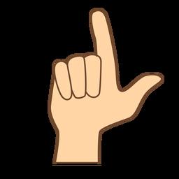 Hand finger l letter l flat