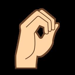 Mão dedo o letra o plana