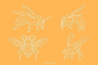 Bleistiftart-Bienenentwürfe