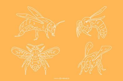 Desenhos de abelha de estilo de lápis