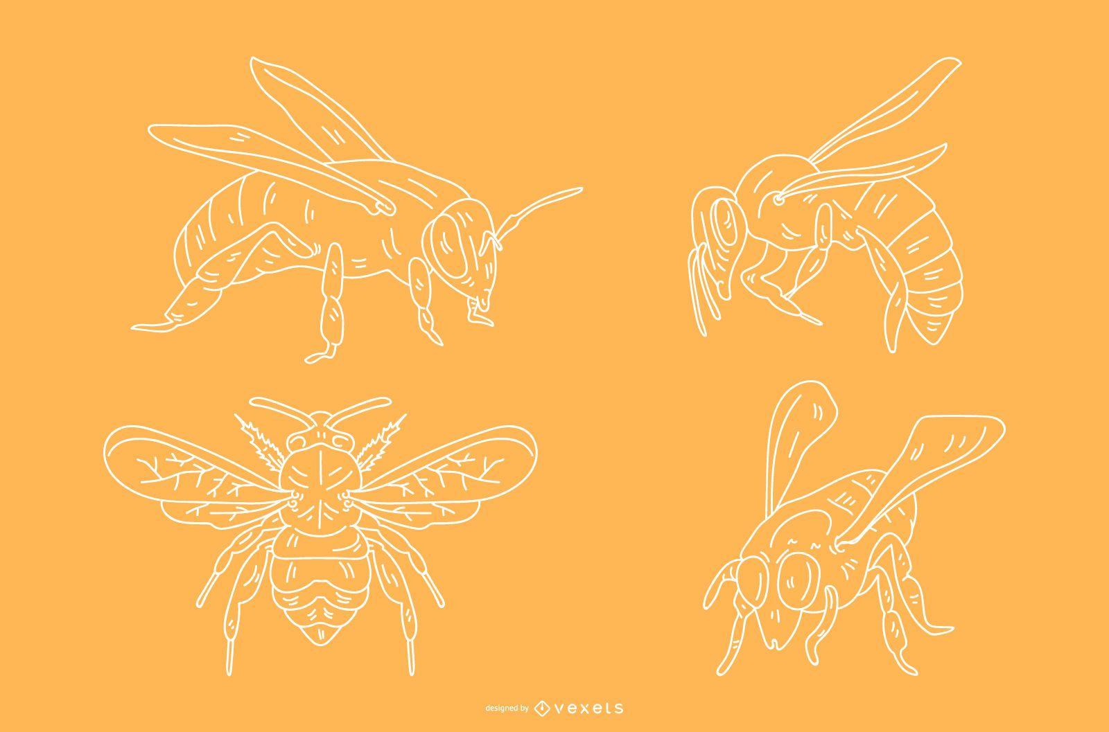 Pencil style bee designs
